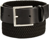 HUGO BOSS Men's Gorian Leather & Woven Elastic Belt