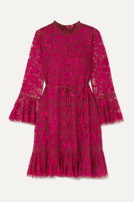 Needle & Thread Demetria Embroidered Tulle Mini Dress