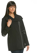 Calvin Klein Asymmetrical Wing Collar Softshell Jacket with Faux Leather Elbow Detail