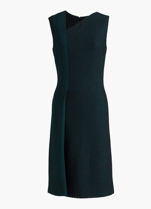 St. John Herringbone Asymmetric Neck Dress