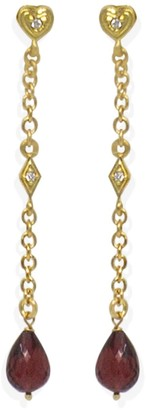 Vintouch Italy Luccichio Deco Gold-Plated Garnet Earrings