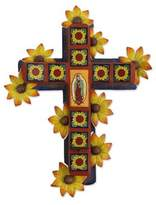 Fair Trade Religious Ceramic Wall Sconce, 'Cross of Guadalupe'