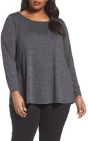 Sejour Plus Size Women's Back Tie Long Sleeve Swing Tee