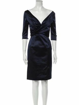 Alexander McQueen Silk Knee-Length Dress Blue