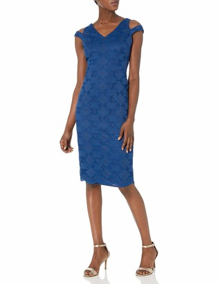Maggy London Women's Deco Lace Sheath with Open Shoulder