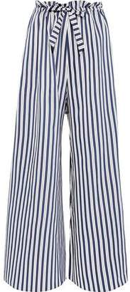Paper London Gathered Striped Twill Wide-leg Pants