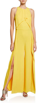 Halston Sleeveless High-Neck Flowy Drape Front Wide-Leg Jumpsuit
