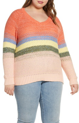 Caslon Ombre Stripe V-Neck Sweater