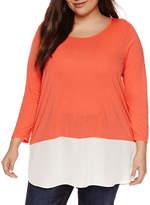 A.N.A a.n.a 3/4 Sleeve V Neck Stripe T-Shirt-Womens Plus