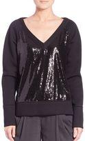Donna Karan Sequined-Front Sweatshirt