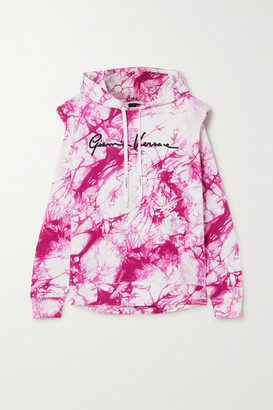 Versace Embroidered Tie-dyed Cotton-jersey Hoodie - Pink