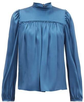 Rochas Ruffled Silk-satin Blouse - Womens - Blue
