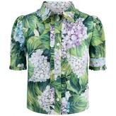 Dolce & Gabbana Dolce & GabbanaGirls Green Hydrangea Print Shirt
