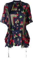 Sacai geometric and floral print sheer blouse - women - Polyester - 2
