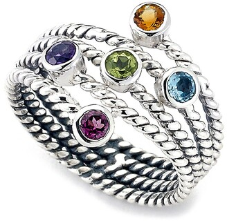 Samuel B. Sterling Silver Bezel Set Multiple Gemstone Multi Band Ring