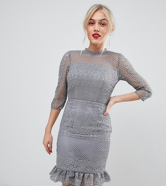 Chi Chi London Petite high neck lace dress with open back in gray