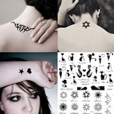 5 Sheets Fashion Body Art Stickers Removable Waterproof Temporary Tattoo - Patten Type: Wings, Letters, Cats, Totem, Cardiogram Hot - FZPSZH01001 by Sophiababywang