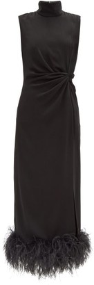 16Arlington Maika Feather-trimmed Crepe Dress - Black