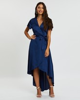 Missguided Satin High-Low Wrap Midi Dress