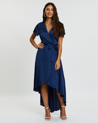 Missguided Satin High-Low Wrap Midi Dress