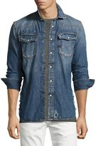 G Star G-Star 3301 Distressed Denim Western Shirt, Dark Aged Vintage Restored 136