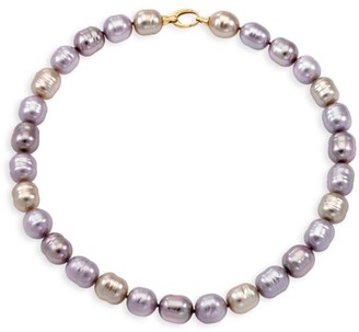 Majorica 18K Yellow Goldplated & 14MM Multicolor Organic Man-Made Baroque Pearl Strand Necklace