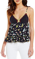 Chelsea & Violet V-Neck Sleeveless Crochet Bird Print Top