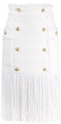 Balmain Fringed Fitted Skirt