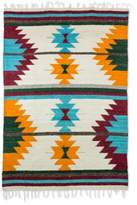Geometric Wool Area Rug in Brick and Sunrise (4x6), 'Unity of Color'