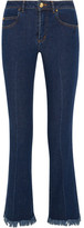 Sonia Rykiel Cropped Frayed Mid-rise Flared Jeans - Mid denim