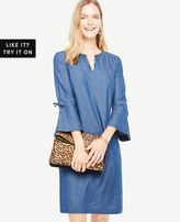 Ann Taylor Chambray Bell Sleeve Dress