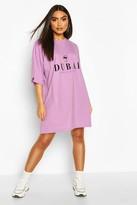 boohoo Dubai Printed Oversized Cotton T Shirt Dress