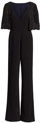 Badgley Mischka Embellished Cape Jumpsuit