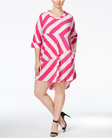 Melissa McCarthy Trendy Plus Size Striped High-Low Dress
