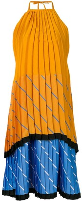 Victoria Victoria Beckham pleated tiered colour block dress