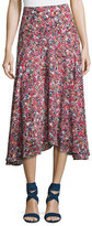 Saloni Ida A-Line Silk Midi Skirt, Multi