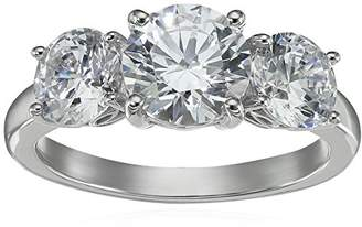 Swarovski La Lumiere Platinum-Plated Sterling Silver Zirconia 4 cttw Round 3 Stone Ring, Size P1/2