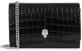 Alexander McQueen Black Crocodile-effect Leather Cross-body Bag