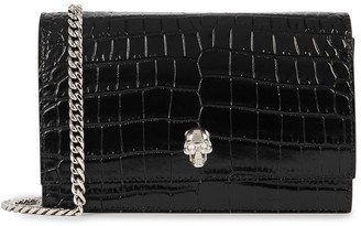 Alexander McQueen Black crocodile-effect leather cross-body bag