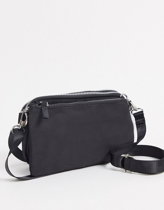 My Accessories London double compartment cross body bag in black nylon