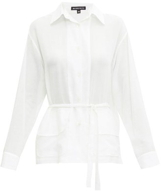 Ann Demeulemeester Belted Cotton-muslin Blouse - Womens - White