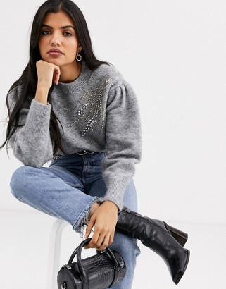 And other stories & embellished puff sleeve jumper in grey