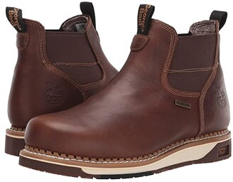 Georgia Boot Wedge Waterproof Chelsea Work Boot (Dark Brown) Men's Boots