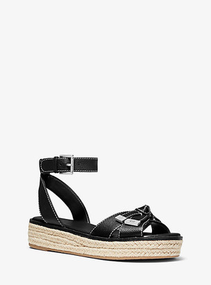 Michael Kors Ripley Pebbled Leather Espadrille Sandal