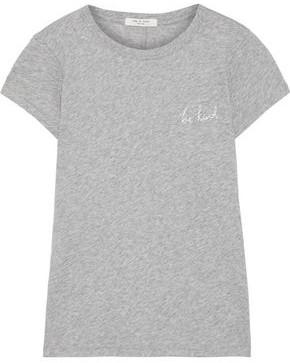 Rag & Bone Be Kind Embroidered Melange Pima Cotton-jersey T-shirt