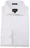 Neiman Marcus Classic-Fit Square-Pattern Dress Shirt, White