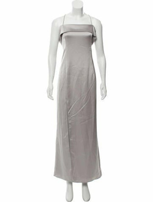 Halston Cold-Shoulder Evening Gown grey