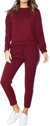 Waitfor Tracksuit for Women Ladies Teen 2PCS Solid Striped Active Long Sleeve Tops+Long Pants Loungewear Sportswear
