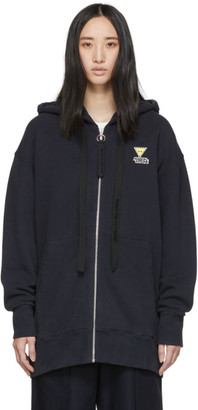 MAISON KITSUNÉ Navy Oversized Zip-Up Hoodie