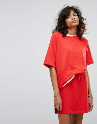 Noisy May Slouchy T-Shirt With Colour Blocking Stripe-Red